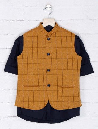 Mustard yellow color cotton waistcoat shirt