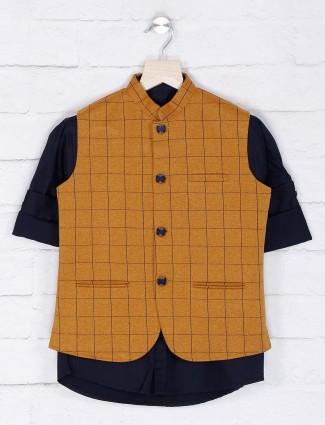 Mustard yellow color cotton waistcoat shirt