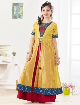 Mustard yellow color jacket style lehenga choli