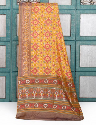 Mustard yellow color silk festival saree