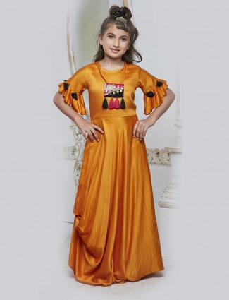 Mustard yellow color silk gown