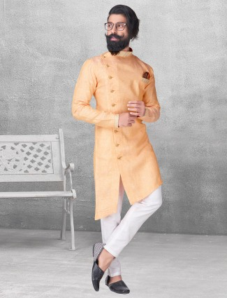 Mustard yellow color silk kurta suit