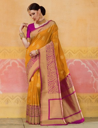 Mustard yellow color silk saree for wedding function