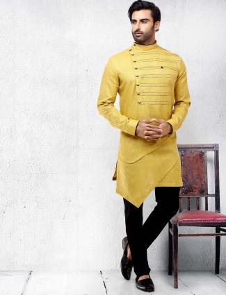 Mustard yellow color solid mens kurta suit