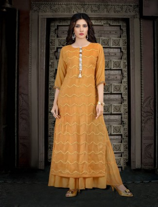 Orange colored cotton silk kurti