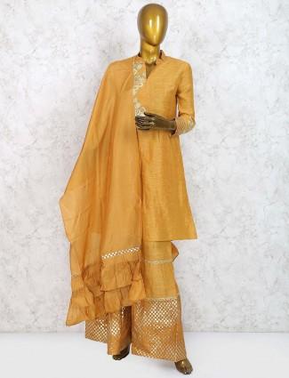 Mustard yellow colored cotton silk sharara suit