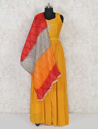 Mustard yellow cotton anarkali salwar kameez for festivals