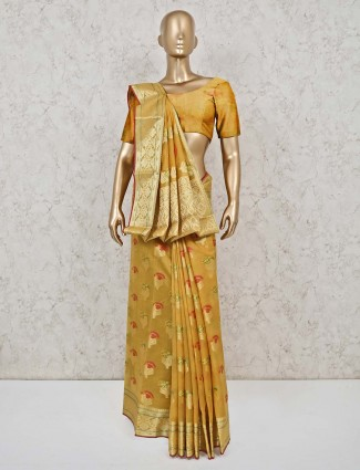Mustard yellow cotton banarasi silk saree