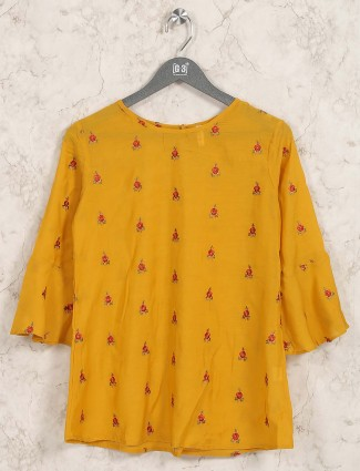 Mustard yellow cotton casual top