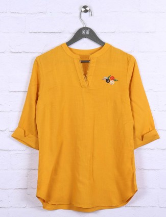 Mustard yellow cotton casual wear top