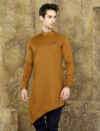 Mustard yellow cotton fabric short kurta