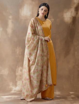 Mustard Yellow Cotton Festival Wear Salwar Suits