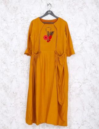 Mustard yellow cotton festive kurti