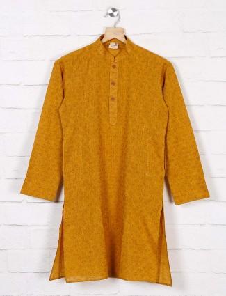 Mustard yellow cotton kurta with churidar