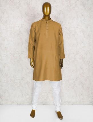 Beige cotton mens kurta suit