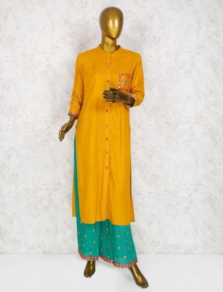 Mustard yellow cotton palazzo suit