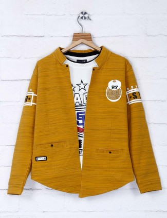 Mustard yellow cotton party blazer
