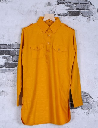 Mustard yellow cotton pathani suit