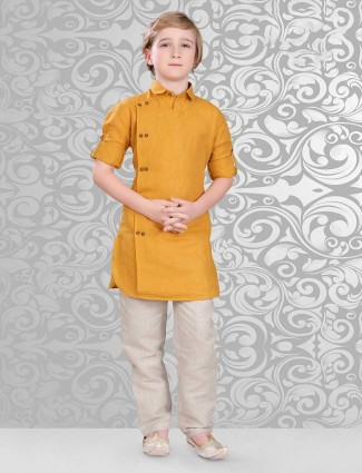 Mustard yellow cotton pathani suit for boys
