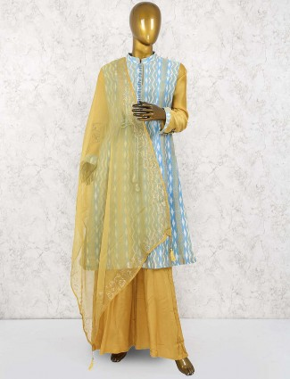 Mustard yellow cotton punjabi palazzo suit
