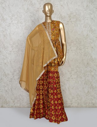 Mustard yellow cotton punjabi sharara suit