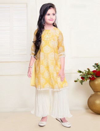 Mustard yellow cotton round neck sharara suit