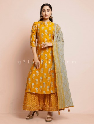 Mustard yellow cotton sharara suit in cotton for festive