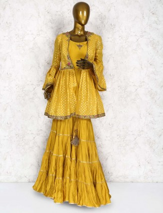 Mustard yellow cotton silk fabric punjabi sharara suit