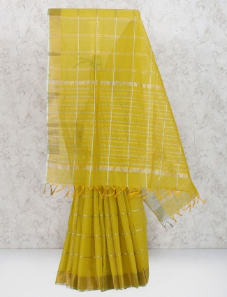 Mustard yellow cotton silk fabric saree