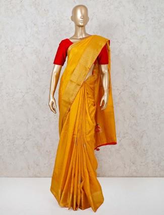 Mustard yellow cotton silk festival saree