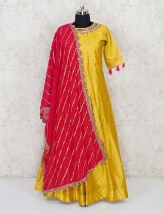 Mustard yellow cotton silk festive anarkali salwar kameez