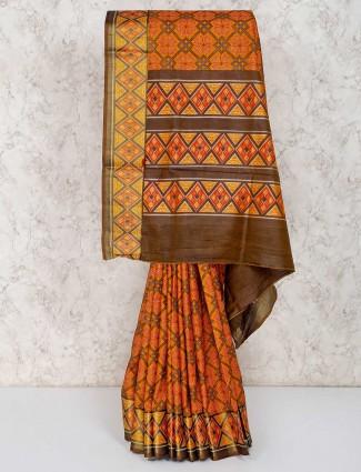 Mustard yellow cotton silk festive wear saree