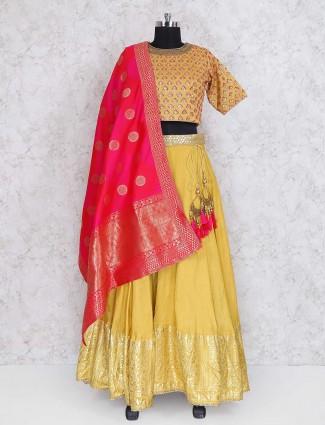 Mustard yellow cotton silk lehenga choli