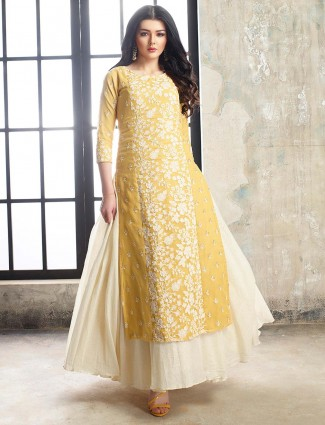 Mustard yellow cotton silk lehenga cum salwar suit