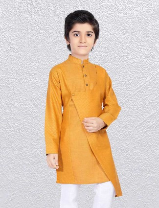 Mustard yellow designer boys short kurta