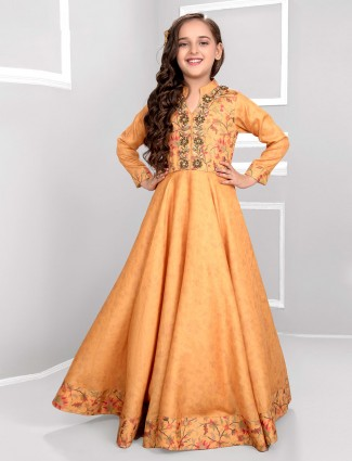Mustard yellow designer cotton silk gown