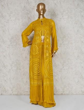Mustard yellow designer georgette indo western suit