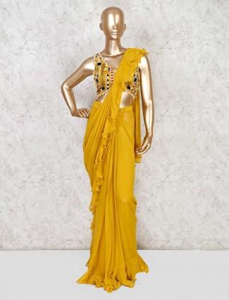 Mustard yellow designer ready to wear saree in georgette