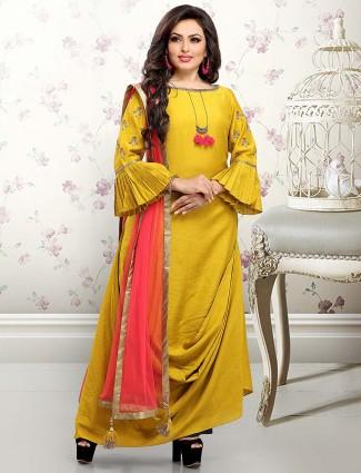 Mustard yellow designer salwar suit in cotton silk