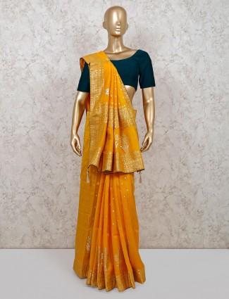 Mustard yellow dola silk saree for weddings