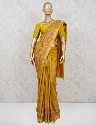 Mustard yellow embroidared saree for wedding