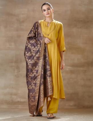 Mustard Yellow Festivals Salwar Kameez In Cotton