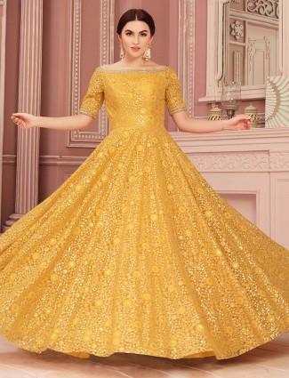 Mustard yellow floor length gown in net