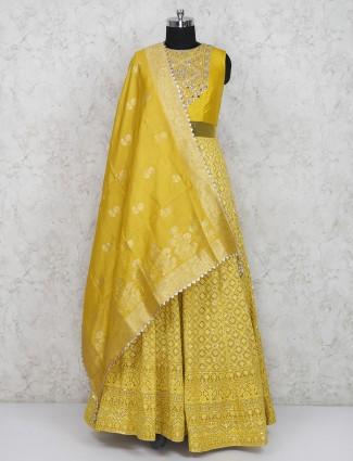 Mustard yellow georgette fabric anarkali salwar suit