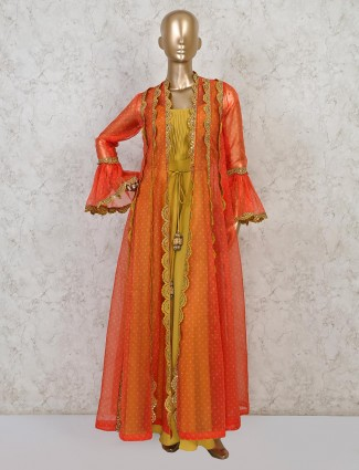 Mustard yellow georgette jacket style indo western suit
