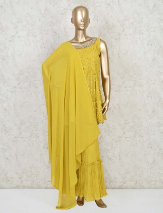 Mustard yellow georgette punjabi sharara suit