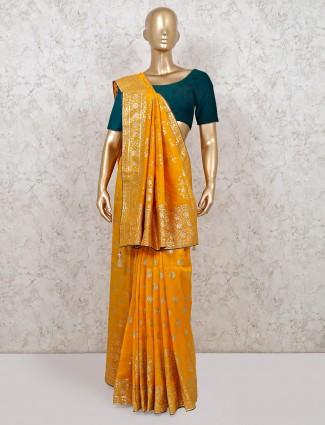 Mustard yellow gota work saree in dola silk