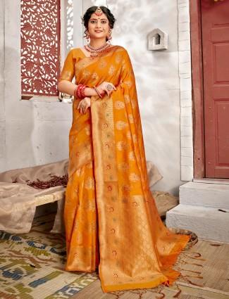 Mustard yellow handloom banarasi silk for reception