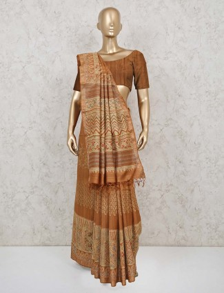 Mustard yellow handloom cotton saree
