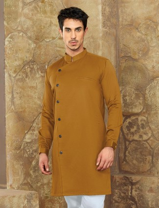 Mustard yellow hue cotton short pathani